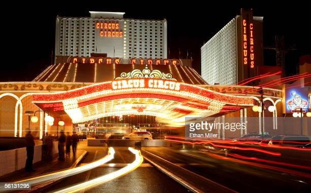 Vehicles travel in front of the Circus Circus hotelcasino November 9 2005 in Las Vegas Nevada