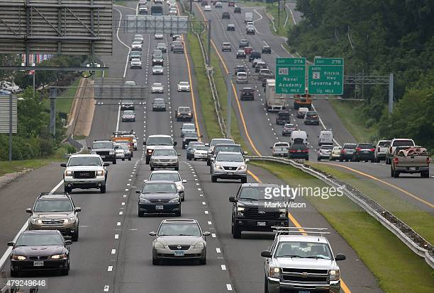 Vehicles travel on Rt 50 headed toward the Chesapeake Bay Bridge and eastern shore beaches July 2 2015 in Annapolis Maryland Thousands are expected...
