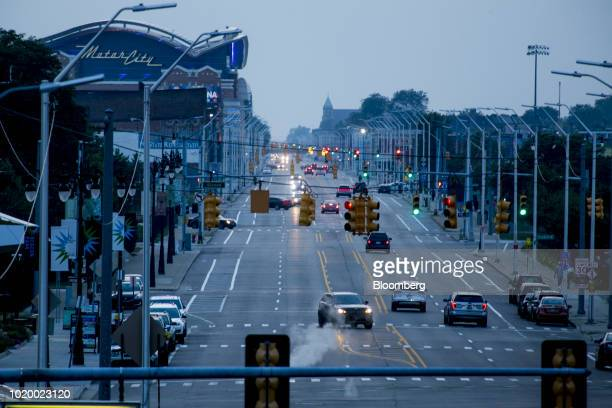 Vehicles travel past Detroit Entertainment LLC MotorCity Casino Hotel on Grand River Avenue in Detroit Michigan US on Tuesday Aug 14 2018 Detroit...