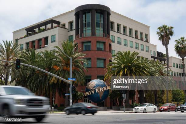 Vehicles travel past Universal Music Group headquarters in Santa Monica, California, U.S. On Friday. June 4, 2021. A blank-check company backed by...