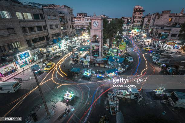 Vehicles turned into light streams by the long shutter speed go on roads ahead of the Eid alAdha on August 09 2019 in Syrias northwestern Idlib...