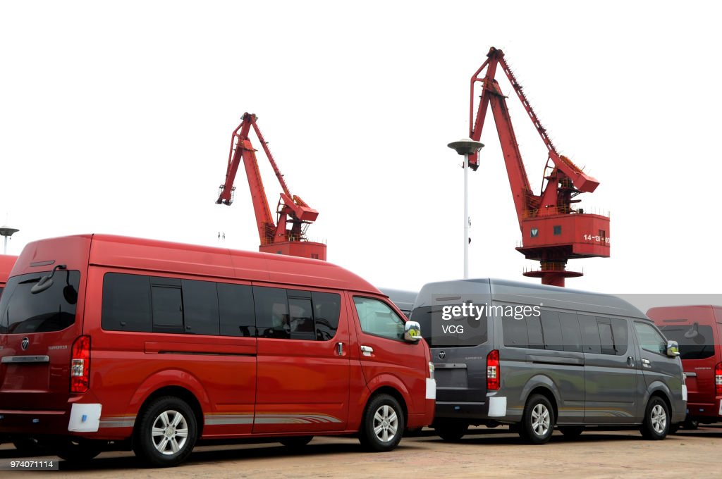 Vehicles wait for shipment at Lianyungang port on June 14, 2018 in Lianyungang, China. China's industrial output expanded 6.8 percent year-on-year in May, National Bureau of Statistics (NBS) data showed Thursday.
