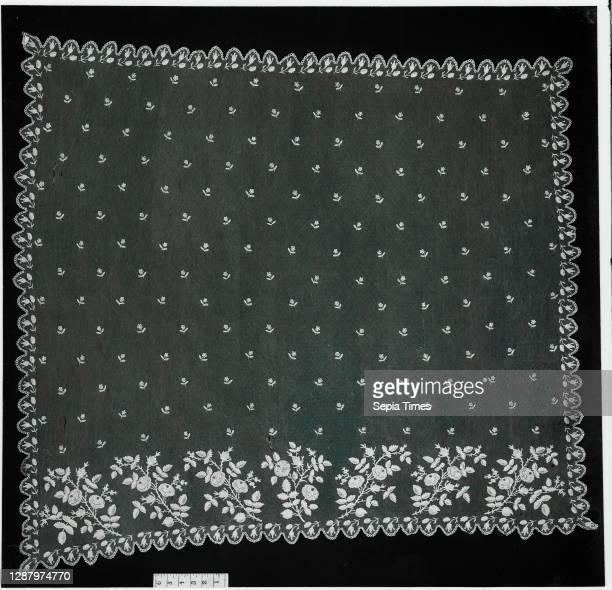 Veil, Flemish, second quarter 19th century, Bobbin lace, Brussels bobbin lace, L. 44 x W. 44 inches, 111.8 x 111.8 cm, Textiles-Laces.