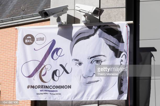 A veil with the face of Jo Cox prior a ceremony ceremony to name a square in honor of slain British Labour MEP Jo Cox on September 27 2018 in...