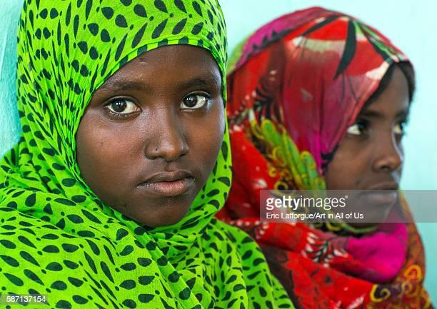 Veiled afar tribe girls at school afar region semera Ethiopia on February 29 2016 in Semera Ethiopia