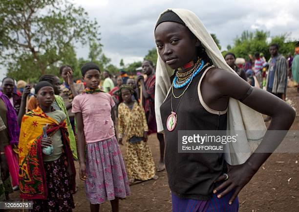 Veiled Dizi girl in Tum market Omo valley Ethiopia on July 03 2010 Tum market Dizi people are an ethnic group from southern Ethiopia They are about...