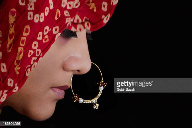 A veiled Indian beautiful woman with nose ring