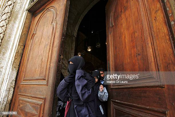 CAIRO EGYPT FEBRUARY 8 A veiled woman leaves the Mosque of Mohammed Ali or Alabaster Mosque in the Citadel on February 8 2006 in Islamic Cairo Egypt...