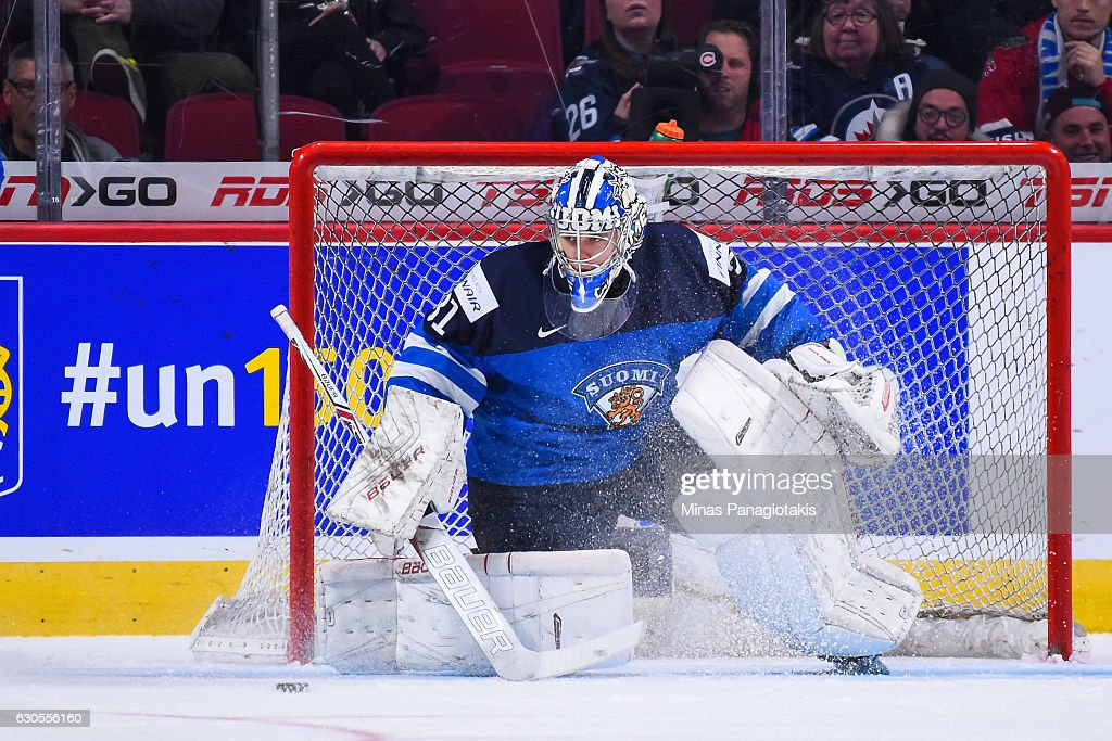 Veini Vehvilainen #31 of Team Finland watches the puck during the IIHF World Junior Championship preliminary round game against Team Czech Republic at the Bell Centre on December 26, 2016 in Montreal, Quebec, Canada.