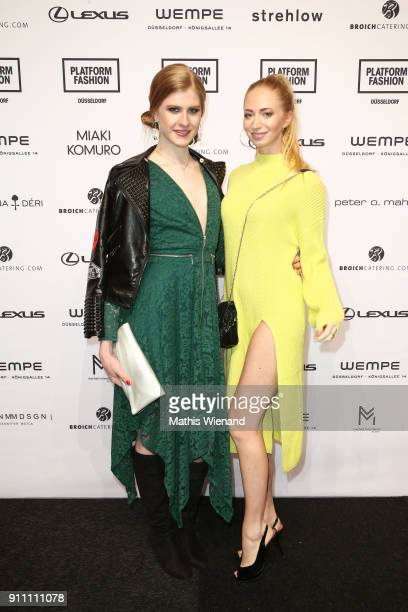 Veit Alex and Julia Schindler attend the 'The NRW Design Issue' show during Platform Fashion January 2018 at Areal Boehler on January 27 2018 in...