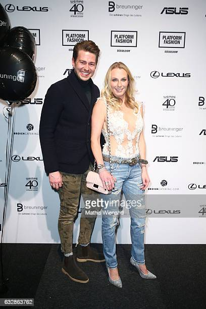 Veith Gaertner and Angie Herzog attend the Breuninger show during Platform Fashion January 2017 at Areal Boehler on January 27 2017 in Duesseldorf...