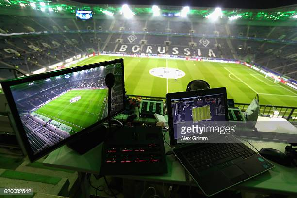 Veiw from the commentators position prior to kick off during the UEFA Champions League Group C match between VfL Borussia Moenchengladbach and Celtic...