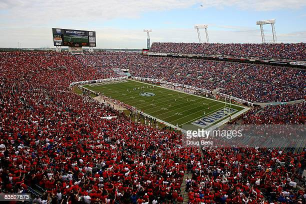 Veiw from up high as the Georgia Bulldogs receive the kick-off to start the game from the Florida Gators at Jacksonville Municipal Stadium on...