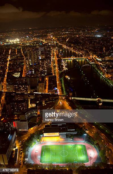 Veiw of Paris at Night Soccer Field and Seine.