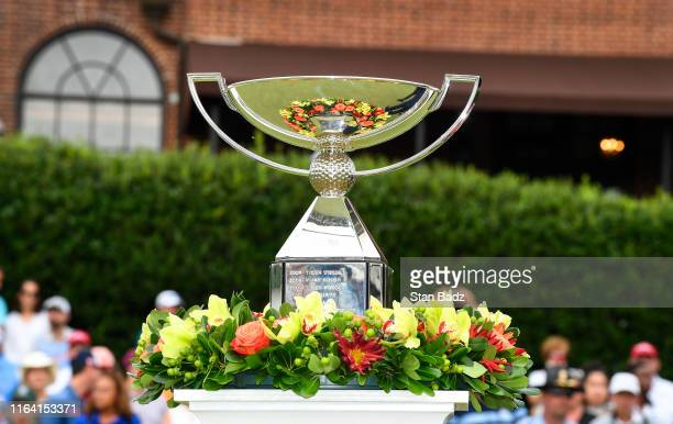 Veiw of the FedExCup trophy on the 18th green during the TOUR Championship, the final event of the FedExCup Playoffs, at East Lake Golf Club on...