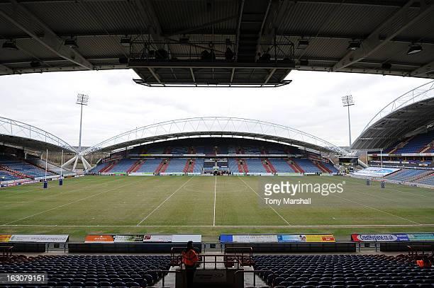 A veiw of The John Smith's stadium home of Huddersfield Giants before the Super League match between Huddersfield Giants and Bradford Bulls at John...
