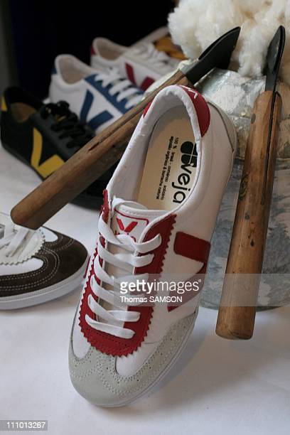 Veja is producing the first 'ethical' sneakers labeled as a 'fair trade' product in Paris France on April 29th 2005 They are assembled from organic...