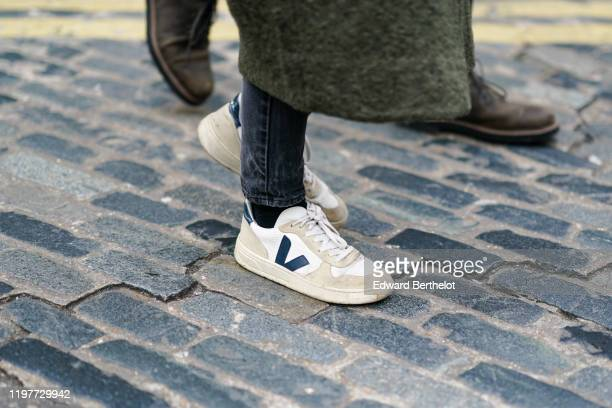 Veja sneakers are seen during London Fashion Week Men's January 2020 on January 05 2020 in London England