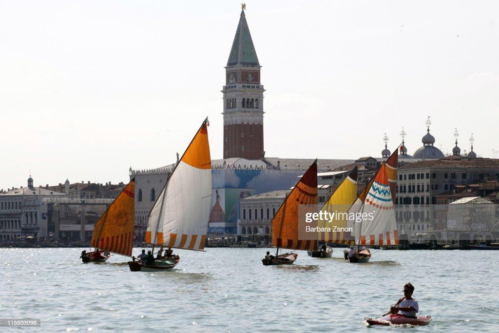 A Vela al Terzo boats sail in front of Saint Mark before the Regatta of Ancient Maritime Republics on June 12, 2011 in Venice, Italy. The Regatta of Ancient Maritime Republics runs every year in one of four places; Venice, Pisa, Amalfi and Genova.