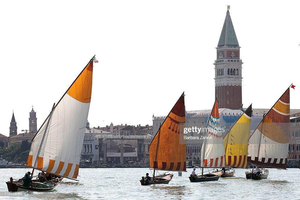 A Vela al Terzo boats sail in front of Saint Mark's before the Regatta of Ancient Maritime Republics on June 12, 2011 in Venice, Italy. The Regatta of Ancient Maritime Republics runs every year in one of four places; Venice, Pisa, Amalfi and Genova.