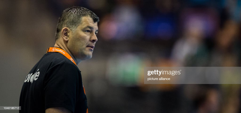 Velenje's coach Gregor Cvijic during the EHF Cup semi final handball