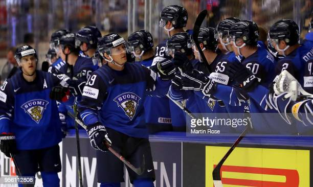 Veli Matti Savinainen of Finland celebrate with his team mates after he scores the openig goal during the 2018 IIHF Ice Hockey World Championship...