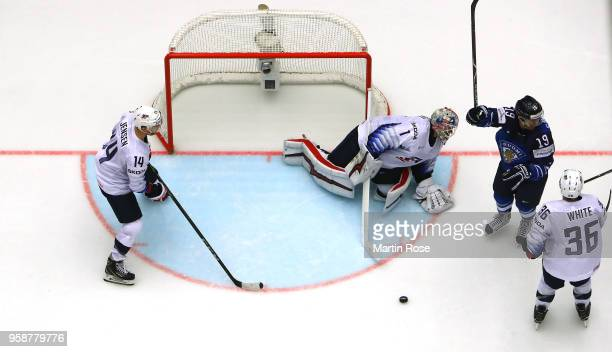 Veli Matti Savinainen of Finland celebrates a goal over the United States during the 2018 IIHF Ice Hockey World Championship Group B game between...