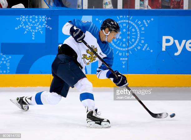 Veli Matti Savinainen of Finland during the Men's Ice Hockey Play-offs Quarterfinals between Finland and Canada on day twelve of the PyeongChang 2018...