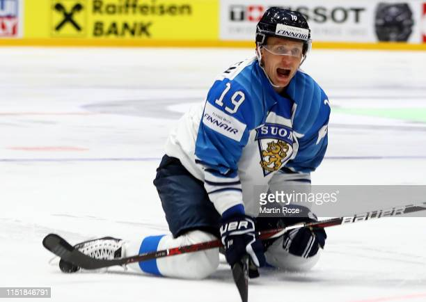 Veli Matti Savinainen of Finland reacts during the 2019 IIHF Ice Hockey World Championship Slovakia final game between Canada and Finland at Ondrej...