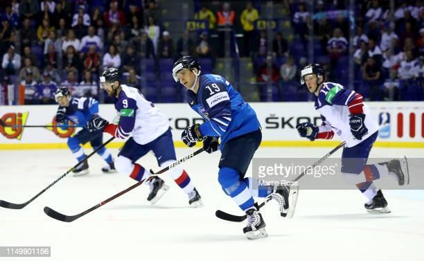 Veli Matti Savinainen of Finland skates against Great Britain during the 2019 IIHF Ice Hockey World Championship Slovakia group A game between...