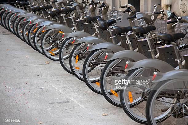 Velib bicycles in Paris, France