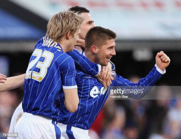 Velice Sumulikoski of Ipswich celebrates his goal with team mates during the Coca Cola Championship match between Ipswich Town v Blackpool played at...
