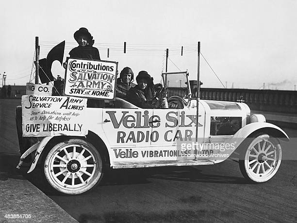 A Velie six cylinder car outfitted with a radio apparatus to receive donations during the Salvation Army's fund drive Chicago Illinois October 31 1922