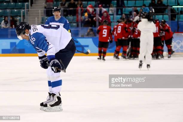Veli-Matti Savinainen of Finland looks on as Canada celebrates winning 1-0 during the Men's Play-offs Quarterfinals on day twelve of the PyeongChang...