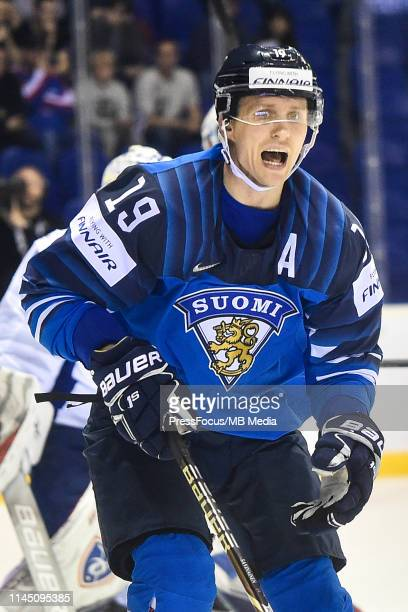 Veli-Matti Savinainen of Finland reacts during the 2019 IIHF Ice Hockey World Championship Slovakia group A game between France and Finland at Steel...