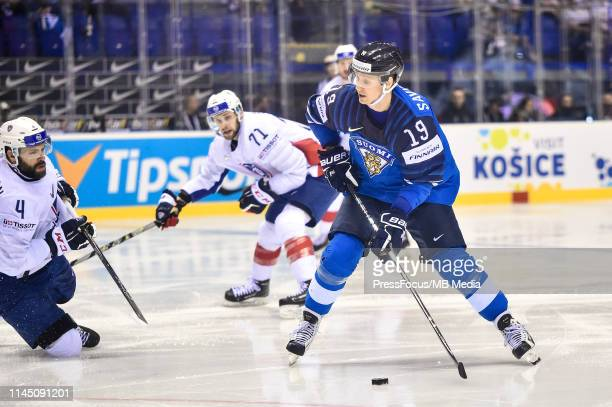Veli-Matti Savinainen of Finland takes a shot on goal during the 2019 IIHF Ice Hockey World Championship Slovakia group A game between France and...