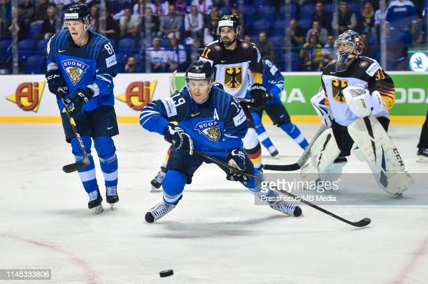Veli-Matti Savinainen of Finland throws himself for the puck during the 2019 IIHF Ice Hockey World Championship Slovakia group A game between Finland...