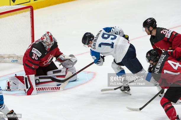 Veli-Matti Savinainen of Finland tries to score against Goalie Matt Murray of Canada during the 2019 IIHF Ice Hockey World Championship Slovakia...