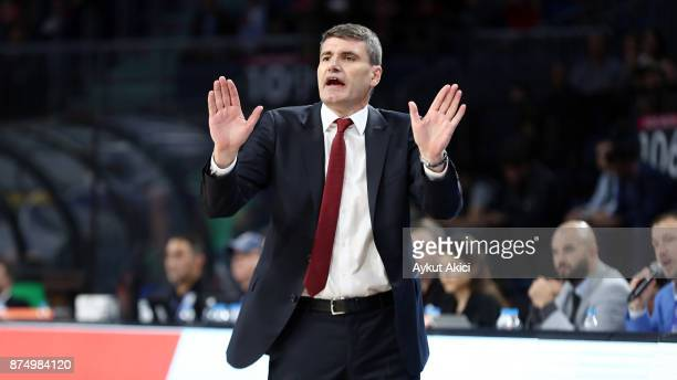 Velimir Perasovic Head Coach of Anadolu Efes Istanbul in action during the 2017/2018 Turkish Airlines EuroLeague Regular Season Round 8 game between...