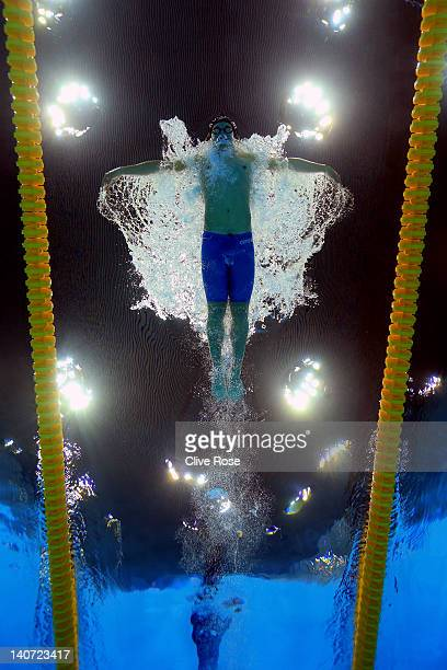 Velimir Stjepanovic of Serbia competes in the Men's 200m Butterfly Guests Final during day three of the British Gas Swimming Championships at the...