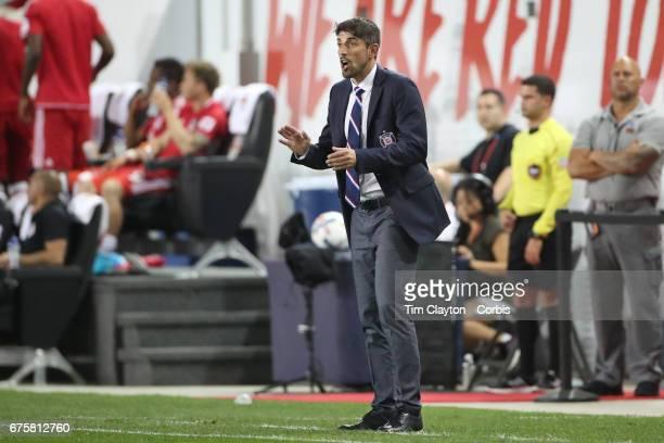 Veljko Paunovic head coach of the Chicago Fire on the sideline during the New York Red Bulls Vs Chicago Fire MLS regular season match at Red Bull...
