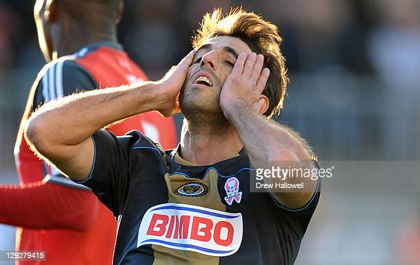 Veljko Paunovic of the Philadelphia Union reacts to a missed shot during the game against Toronto FC at PPL Park on October 15 2011 in Chester...