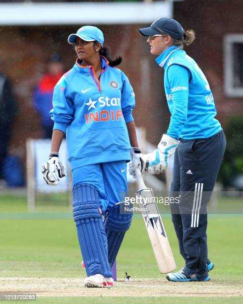 Vellaswamy Vanitha of India and Sarah Taylor of England during the First One Day International between England Women and India Women at Scarborough...