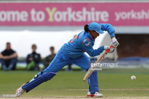 Vellaswamy Vanitha of India batting during the First One Day International between England Women and India Women at Scarborough CC, North Marie Road,...