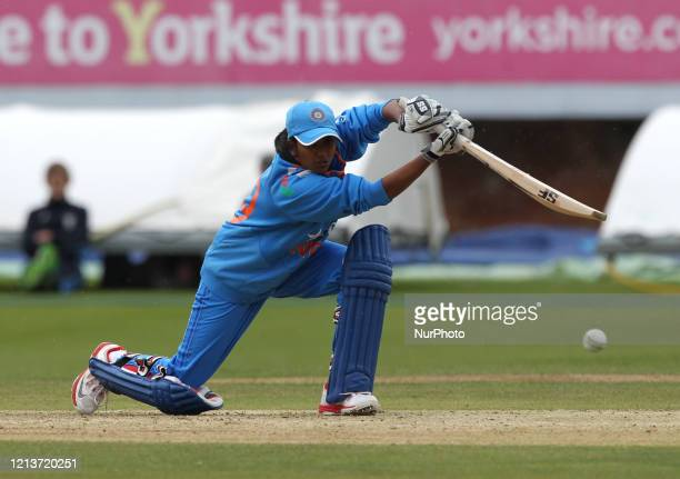 Vellaswamy Vanitha of Induia batting during the First One Day International between England Women and India Women at Scarborough CC, North Marie...