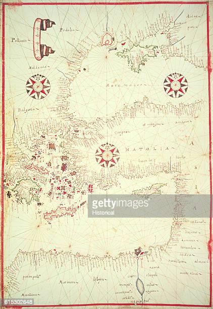 Vellum Chart of Eastern Mediterranean by Oliva