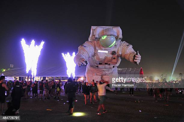 Velocity art installation by Poetic Kinetics is seen during day 3 of the 2014 Coachella Valley Music Arts Festival at the Empire Polo Club on April...