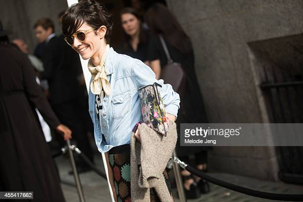 Velour Magazine Fashion Director Violaine Bernard enters JW Anderson on Day 2 of London Fashion Week Spring Summer 2015 on September 13 2014 in...