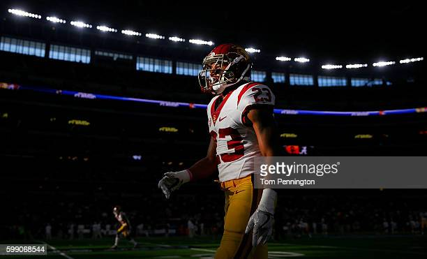 Velus Jones Jr #23 of the USC Trojans prepares to take on the Alabama Crimson Tide during the AdvoCare Classic at ATT Stadium on September 3 2016 in...
