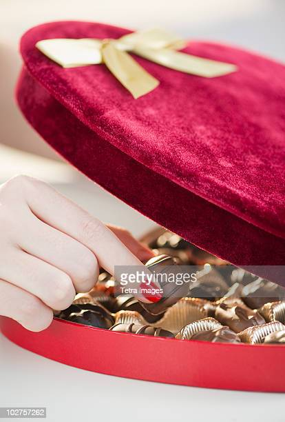 Velvet heart shaped box of chocolates